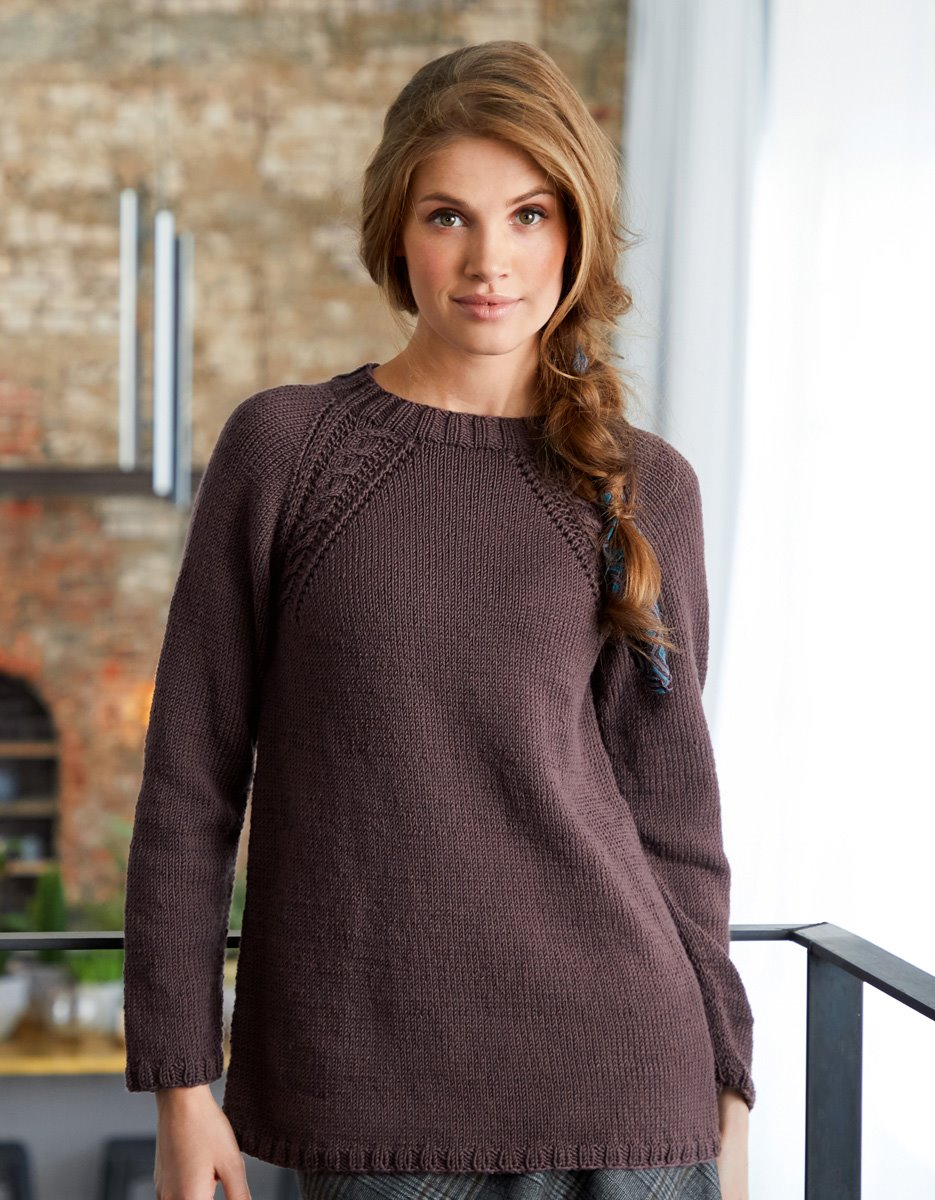 LANA GROSSA RAGLANPULLOVER MIT ZOPF COOL WOOL BIG | Merino Edition No. 1 - Modell 22